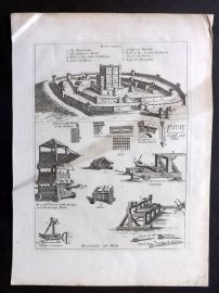 Grose C1785 Antique Military Print. Machines of War, Castle Plan